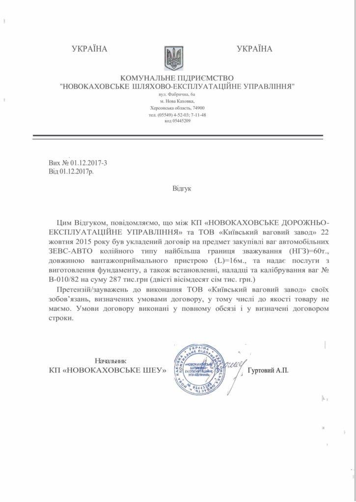 Отзыв КП Новокаховское Дорожно-Эксплуатационное Управление